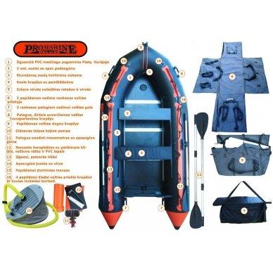 PVC valtis ProMarine Deluxe (dugnas plokštė, ilgis 320 cm, pilka -juoda spalva) 4